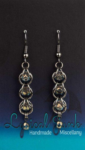 Blue-gold captive bead earrings