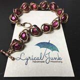 Matte red captive bead bracelet dark