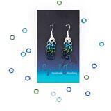 Peacock earrings w/ scattered rings