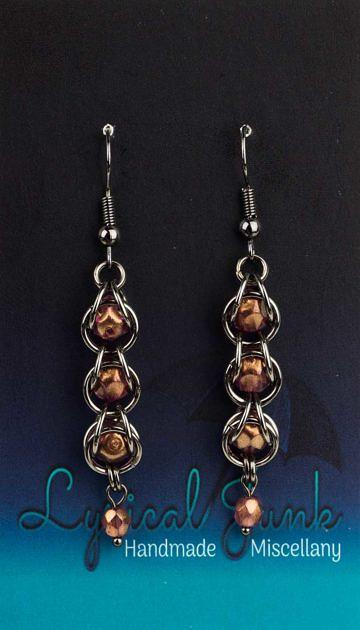 Pink-gold captive bead earrings