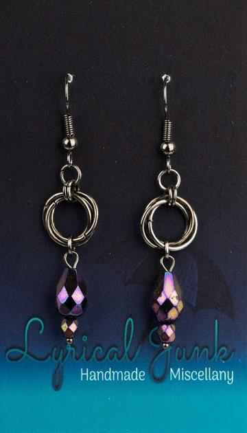 Purple Teardrop Mobius Earrings